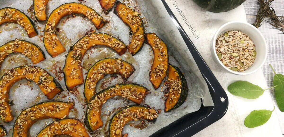 zucca al forno con semi misti